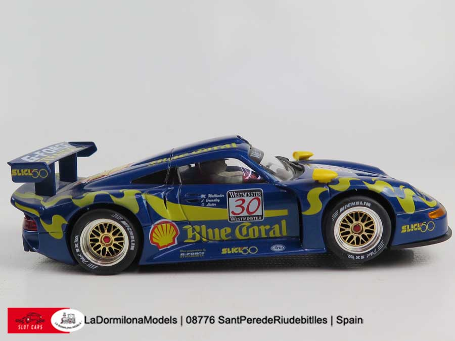 lmu239 scalextric slot fly a37 porsche gt1 30 azul zhuhai 1997 blue coral ebay. Black Bedroom Furniture Sets. Home Design Ideas
