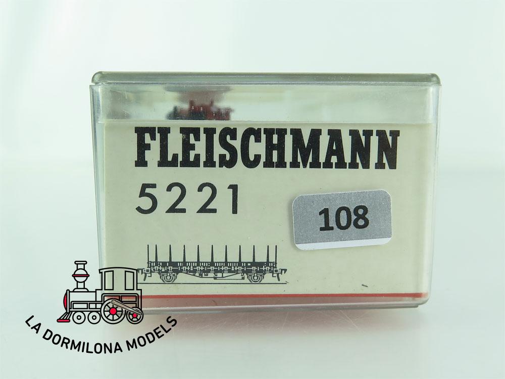 DN108 H0 =DC FLEISCHMANN 5221 VAGÓN PLATAFORMA tipo Rmms 33 de la DB - OVP