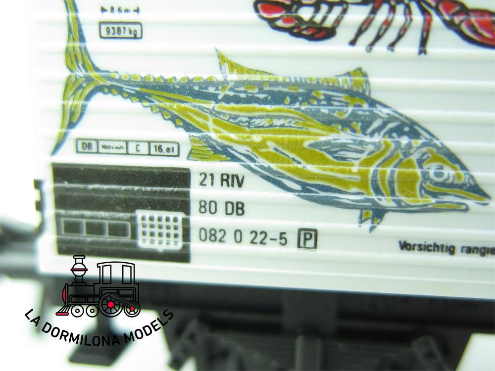 DN132 H0 =DC FLEISCHMANN 5042 VAGÓN FRIGORÍFICO SEEFISCHE de la DB - OVP
