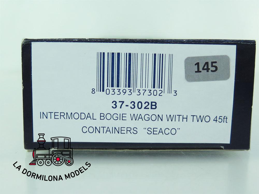 DN145 H0 =DC BACHMANN 37-302B VAGON PLATAFORMA CON CONTENEDORES SEACO  - OVP