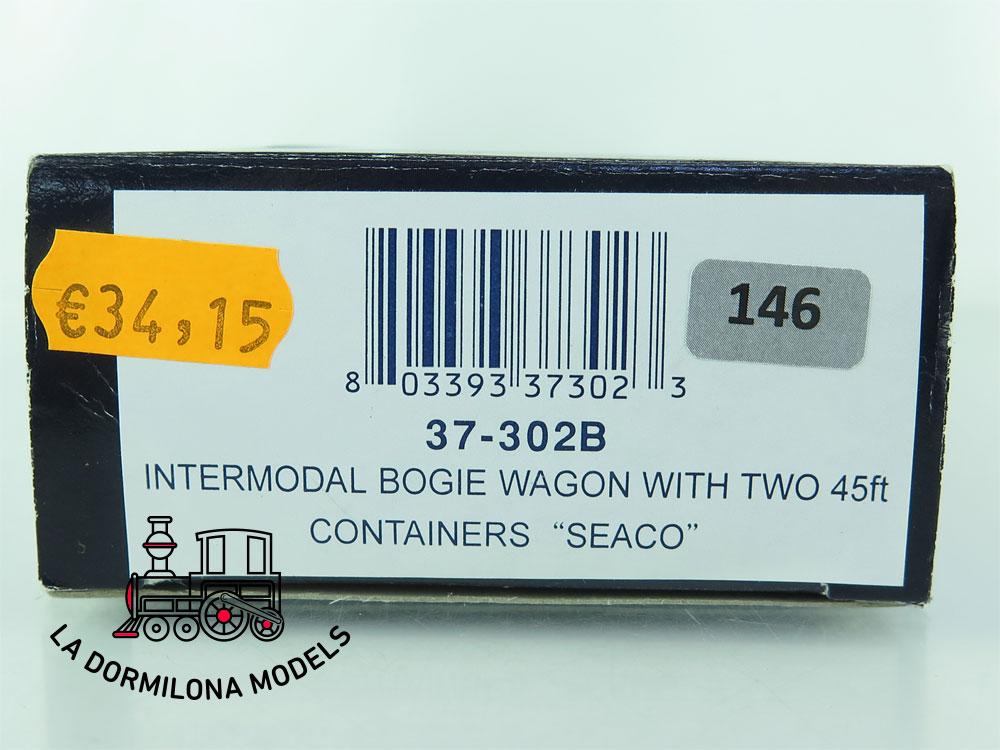 DN146 H0 =DC BACHMANN 37-302B VAGON PLATAFORMA CON CONTENEDORES SEACO  - OVP