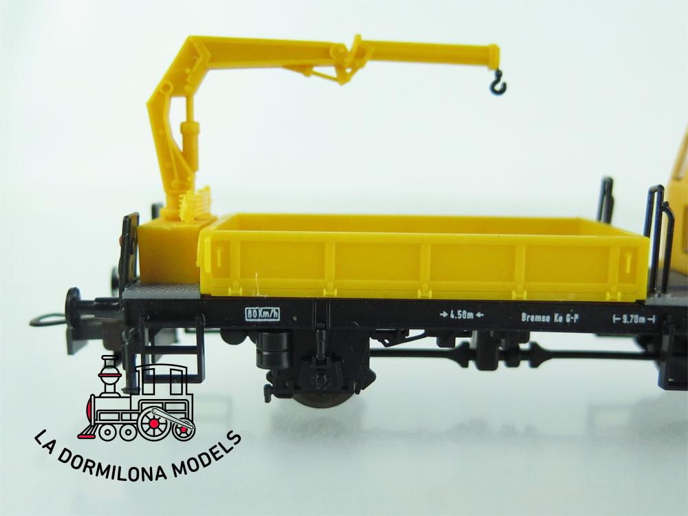 DN154 H0 =DC LILIPUT 381 10 DRESINA DE OBRA CON GRÚA OBW 10 (sin motor) - OVP