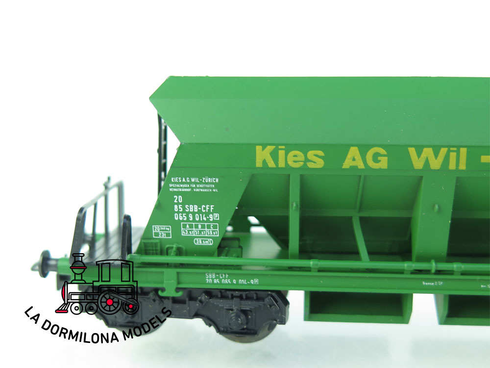 DN155 H0 =DC LILIPUT 246 54 VAGON DE CARGA DE GRAVA KIES AG WIL ZÜRICH SBB -CFF - OVP