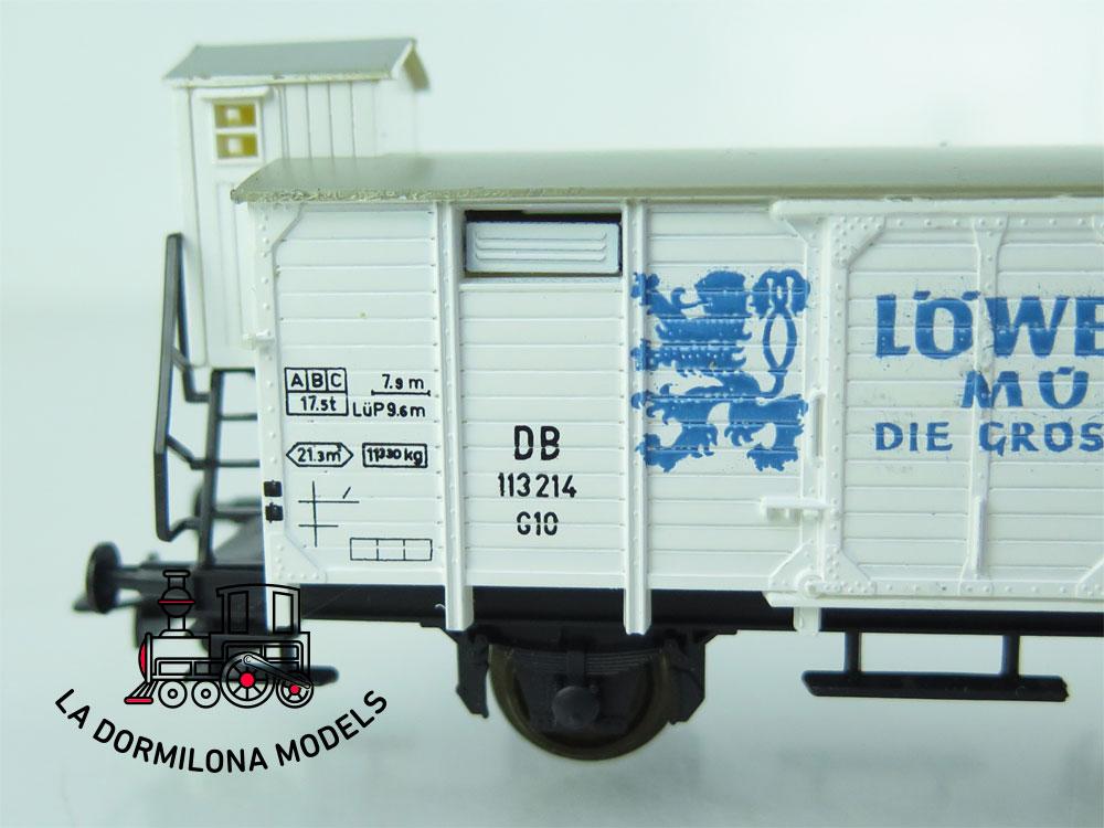 DN159 H0 =DC LILIPUT 24 VAGON CERRADO con garita LÖWENBRÄU MUNCHEN de la DB - OVP