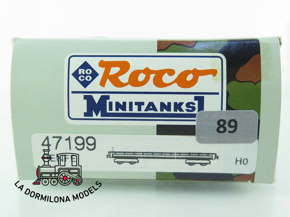 DN89 H0 =DC ROCO 47199 MINITANKS VAGÓN PLATAFORMA CON TANQUE BLINDADO - OVP
