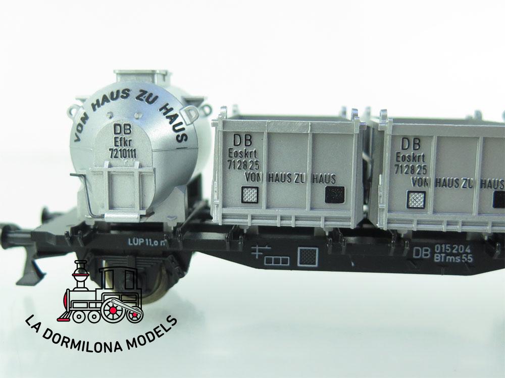 DN96 H0 =DC FLEISCHMANN 5230 vagon portacontenedores VON HAUS ZU HAUS der DB - OVP