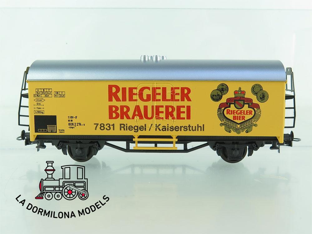 DG169 H0 =DC BAUR / ROCO VAGÓN FRIGORÍFICO RIEGELER BRAUEREI - OVP