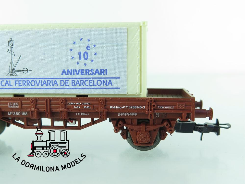 DG174 H0 =DC ELECTROTREN VAGÓN BORDES BAJOS CON CONTENEDOR Ed.especial Amical Ferroviaria de Barcelona - OVP