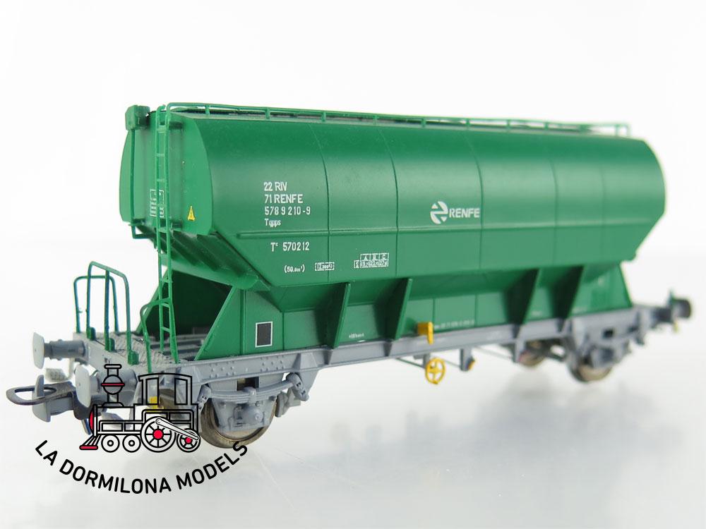 PL343 H0 =DC SUDEXPRESS 570143212 Set de 2 vagones tolvas verde RENFE - OVP