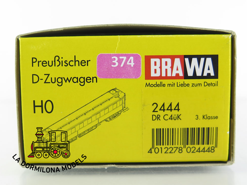 PL374 H0 =DC BRAWA 2444 Preußischer D-Zugwagen C4üK 3 Kl. der DRG - OVP