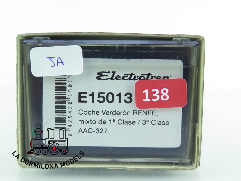 JA138 H0 =DC ELECTROTREN E15013 COCHE VERDERON I/III Clase AAC 327 RENFE + LUZ - OVP