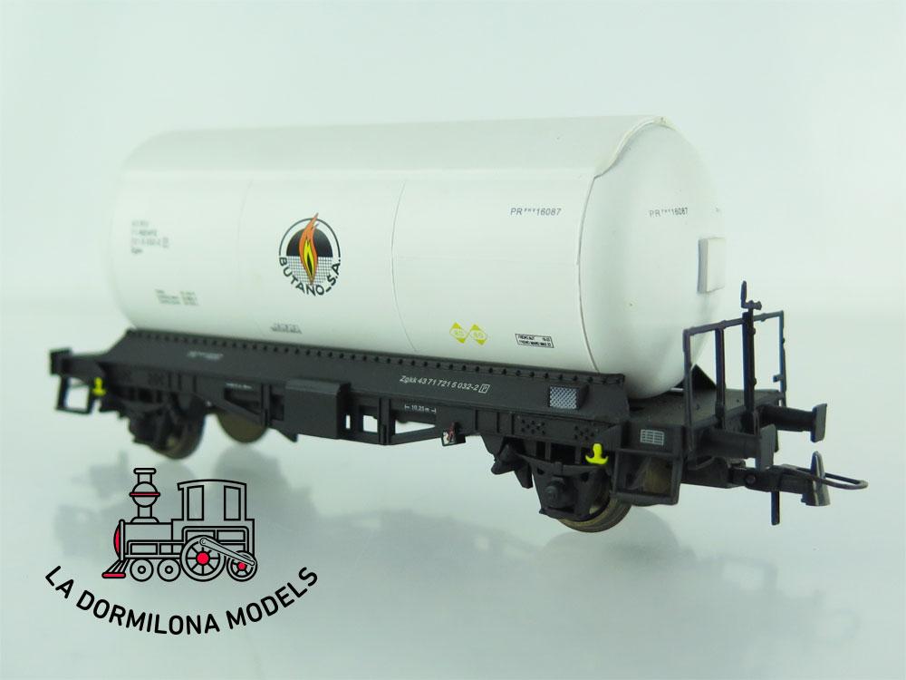 JA153 H0 =DC K-Train 0708-N VAGON CISTERNA para GASES LICUADOS BUTANO RENFE OVP