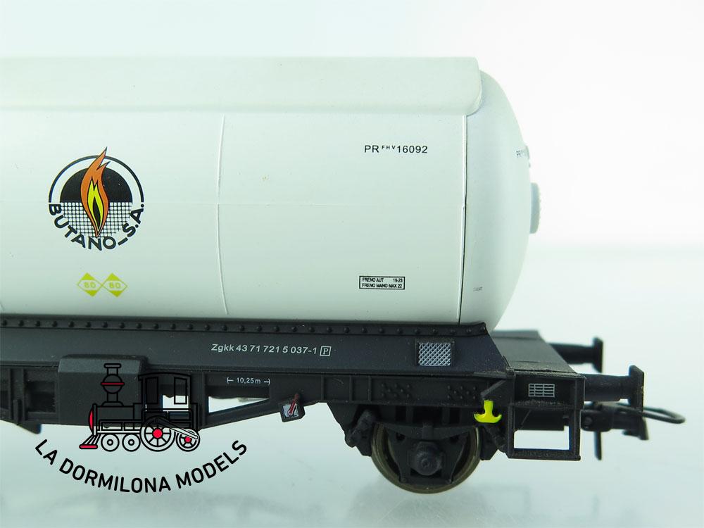 JA155 H0 =DC K-Train 0708-L VAGON CISTERNA para GASES LICUADOS BUTANO RENFE - OVP