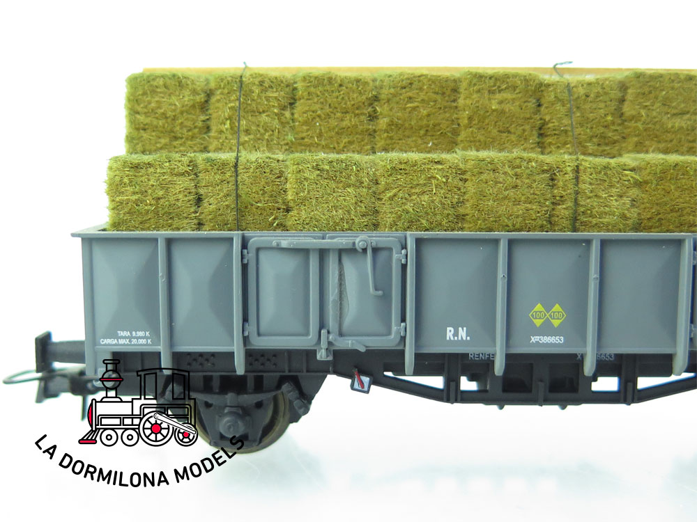 JA163 H0 =DC K-Train 0707-E VAGON ABIERTO X1 con FARDOS DE PAJA - RENFE - OVP