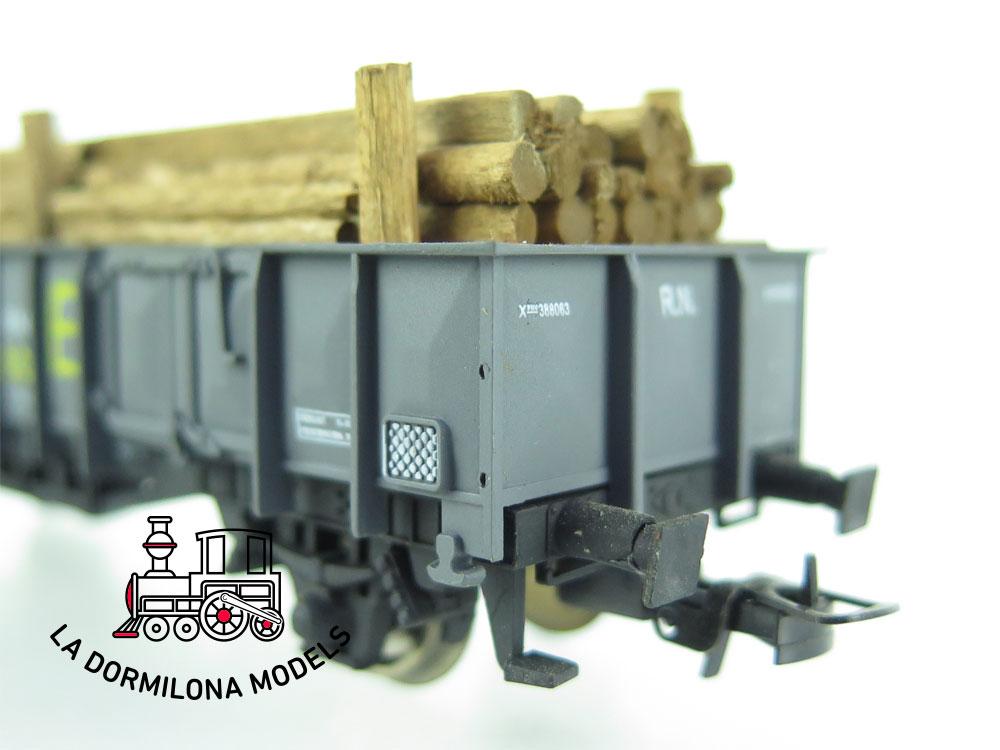 JA166 H0 =DC K-Train 0704-I VAGON ABIERTO X1 TE Con madera- RENFE - OVP