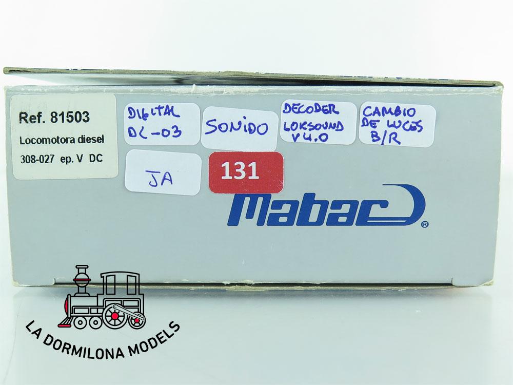 XA131 H0 =DCC + SONIDO MABAR 81503 LOCOMOTORA DIESEL 308-027 Ep.V RENFE