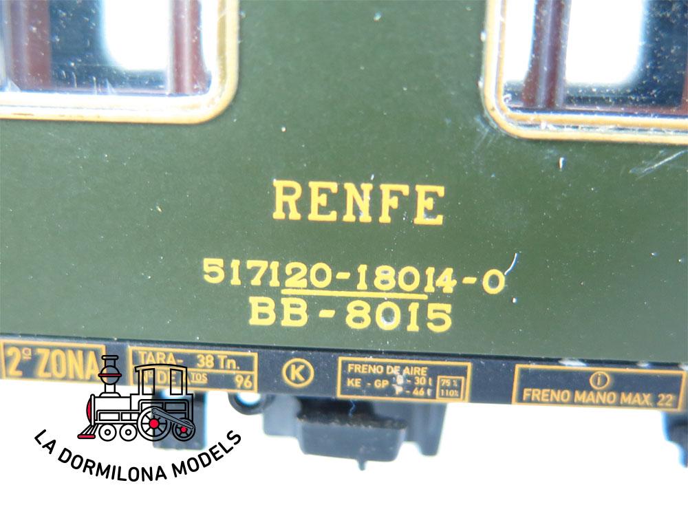 DA463 H0 =DC ELECTROTREN COCHE VIAJEROS 8000 BB-8015 2ª Clase RENFE - S/C