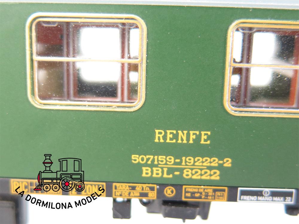 DA464 H0 =DC ELECTROTREN COCHE LITERAS 8000 BBL-8222 2ª Clase RENFE - S/C