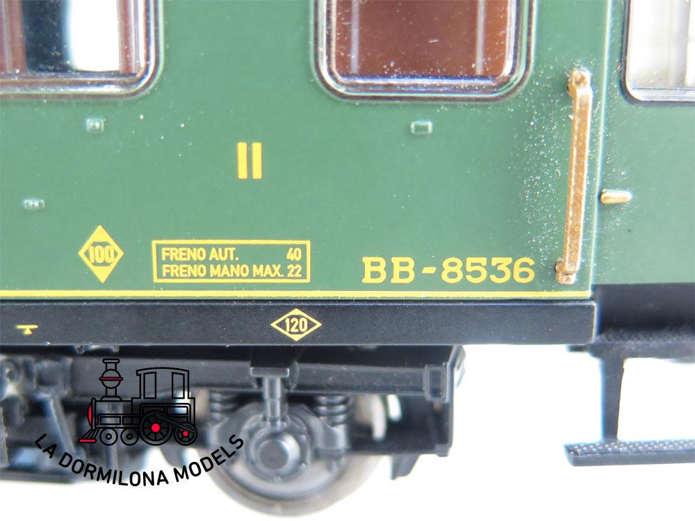 DA506 H0 =DC ELECTROTREN 18030 COCHE VIAJEROS BB-8536 2ª Clase RENFE 1ª S/C