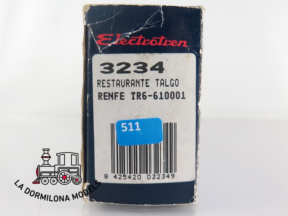 DA511 H0 =DC ELECTROTREN 3234 COCHE RESTAURANTE TR6-610001 TALGO RENFE - OVP
