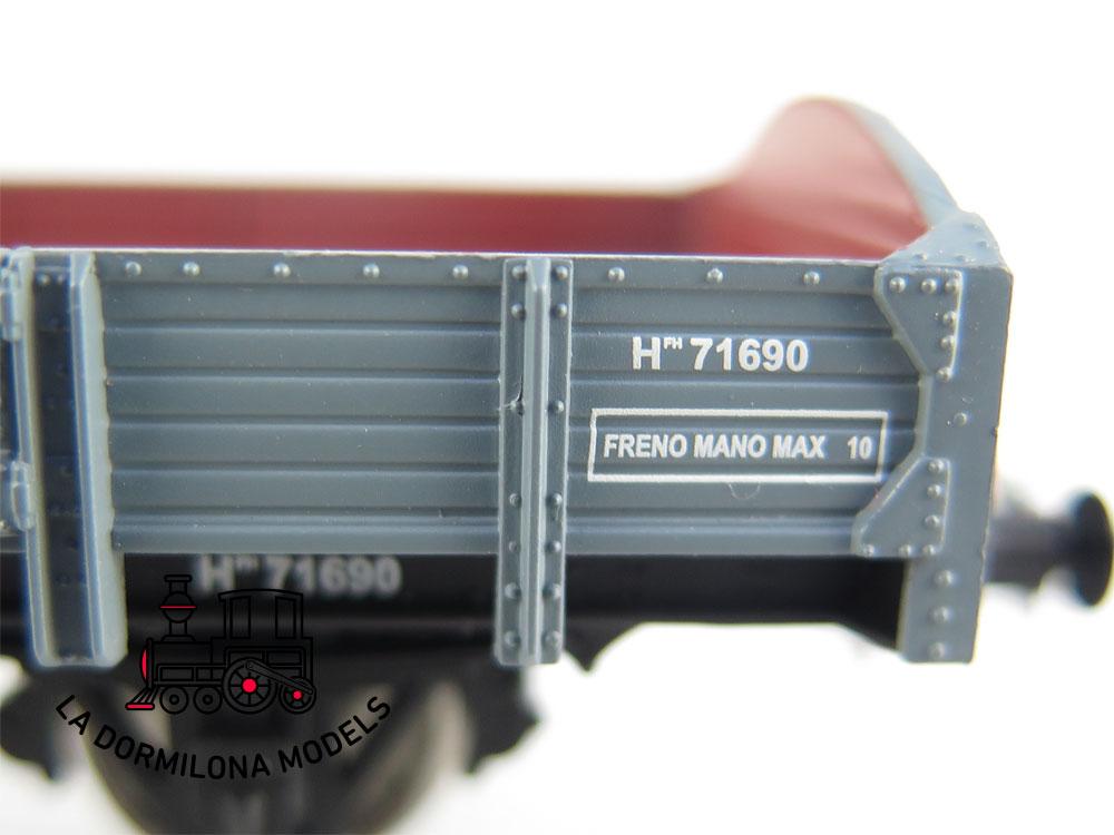 DM43 H0 =DC IBERTREN 45031 VAGON BORES BAJOS CON GARITA Hfh 71690 RENFE - OVP