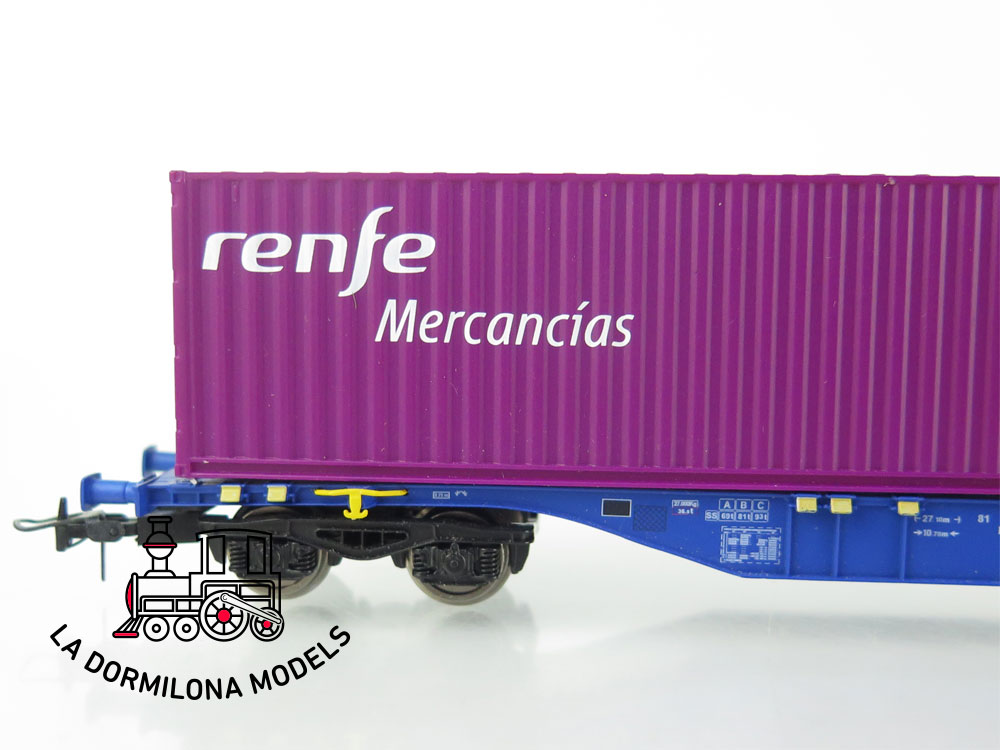 DM55 H0 =DC MABAR 58884 VAGON PORTA CONTENEDORES MMCce 452479 MERCANCIAS RENFE- S/C