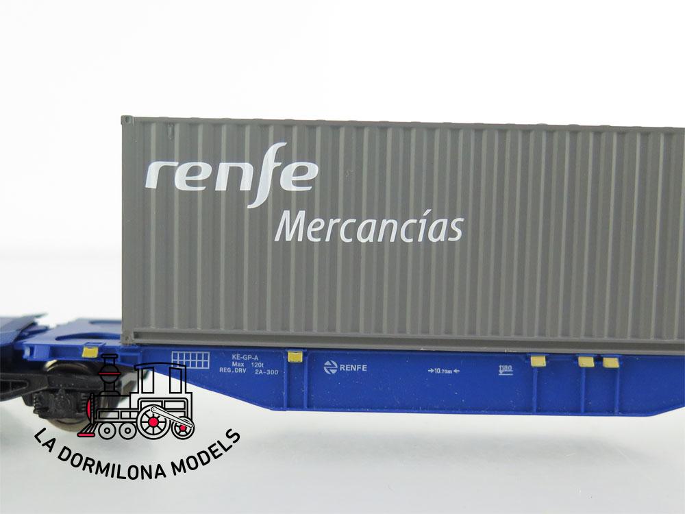 DM56 H0 =DC MABAR 58884 VAGON PORTA CONTENEDORES MMCce 452479 MERCANCIAS RENFE- S/C