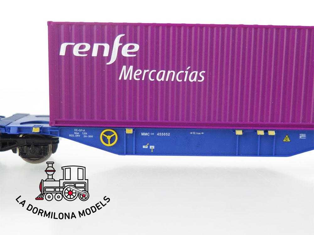 DM57 H0 =DC MABAR 58882 VAGON PORTA CONTENEDORES MMCce 455052 MERCANCIAS RENFE- S/C