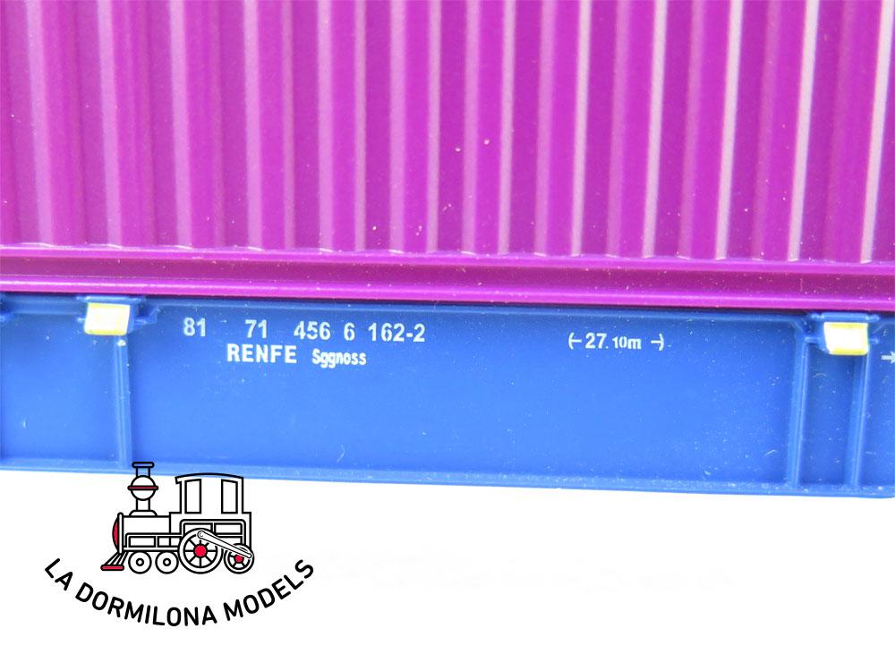 DM59 H0 =DC MABAR 58883 VAGON PORTA CONTENEDORES MMCce 455162 RENFE- S/C