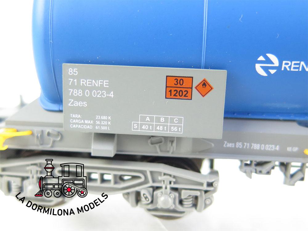 DM63 H0 =DC ELECTROTREN VAGON CISTERNA Zaes AZUL RENFE- S/C