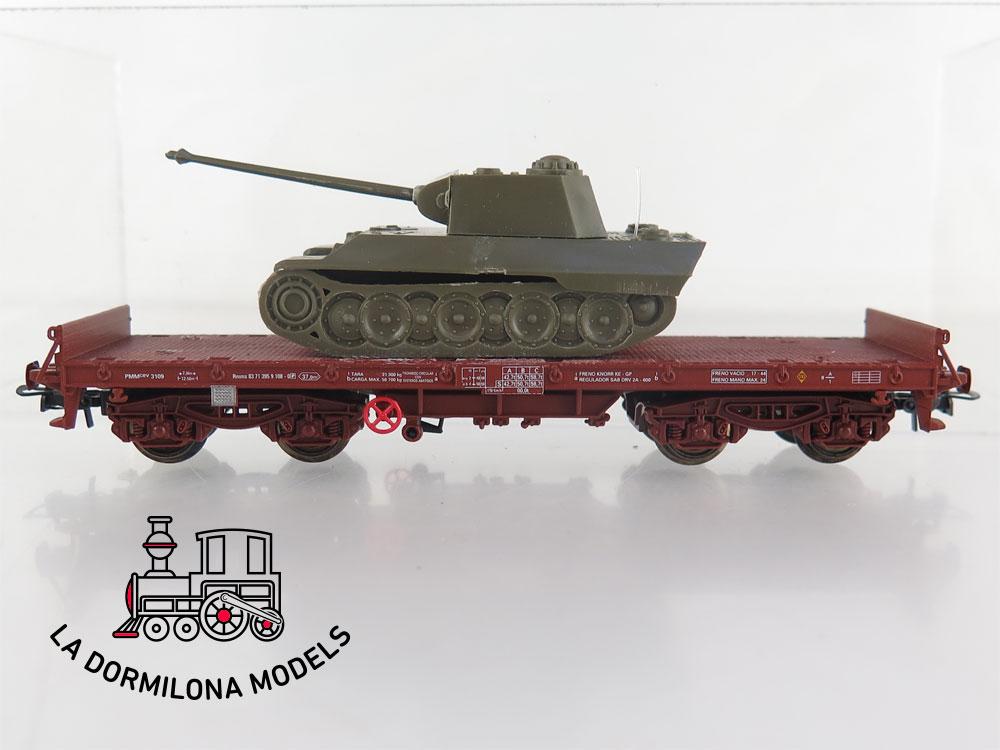 DM77 H0 =DC ELECTROTREN VAGON PLATAFORMA PMMcev3109 RENFE con vehiculo militar - S/C
