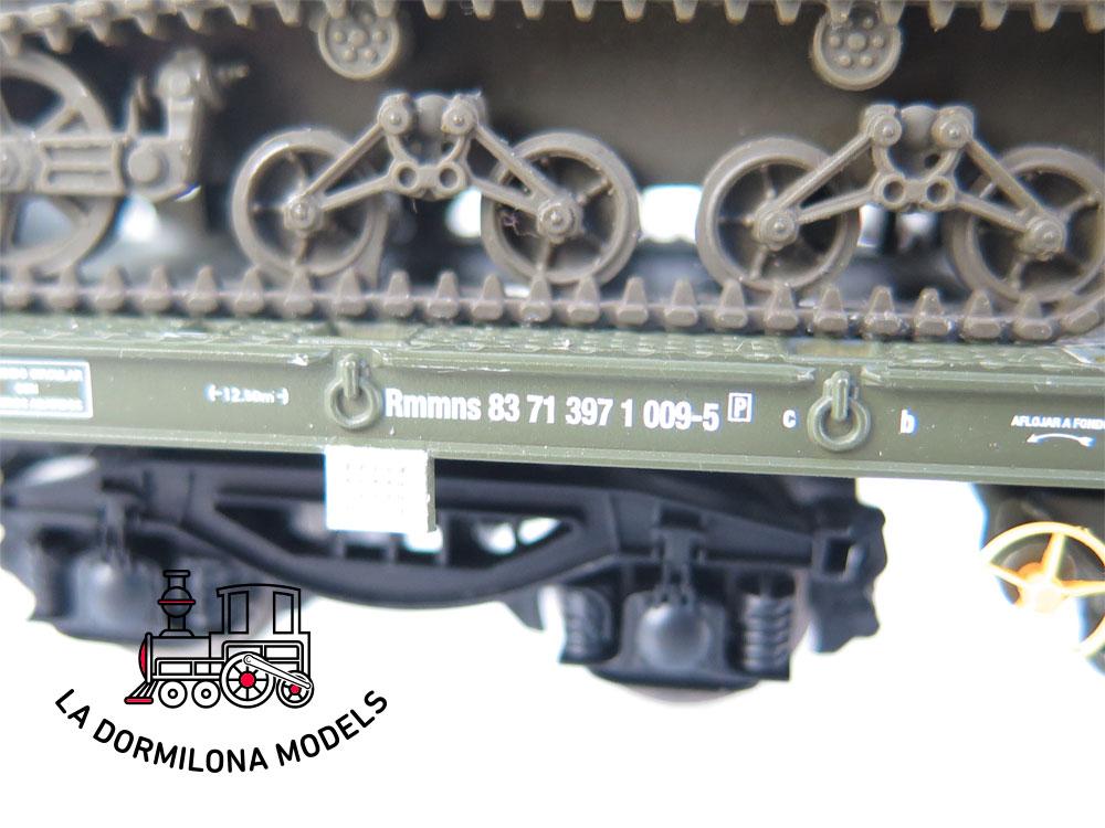 DM79 H0 =DC ELECTROTREN VAGON PLATAFORMA MILITAR Rmmns Z-23329 RENFE - S/C